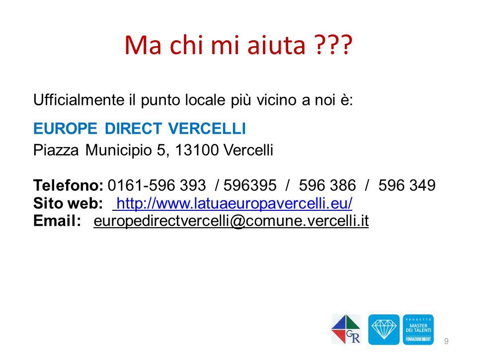 9 Ufficialmente il punto locale più vicino a noi è: EUROPE DIRECT VERCELLI Piazza Municipio 5, 13100 Vercelli Telefono: 0161-596 393 / 596395 / 596 38