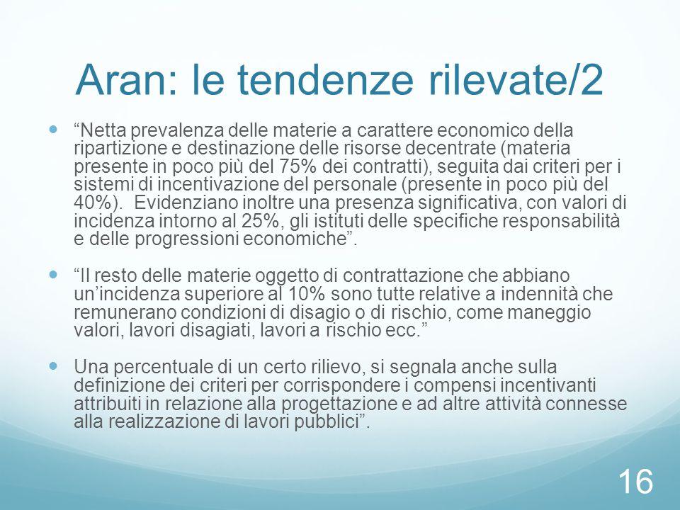 """Aran: le tendenze rilevate/2 """"Netta prevalenza delle materie a carattere economico della ripartizione e destinazione delle risorse decentrate (materia"""