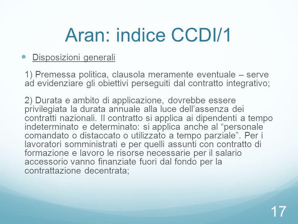 Aran: indice CCDI/1 Disposizioni generali 1) Premessa politica, clausola meramente eventuale – serve ad evidenziare gli obiettivi perseguiti dal contr