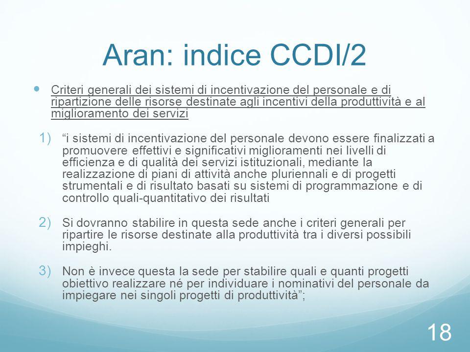 Aran: indice CCDI/2 Criteri generali dei sistemi di incentivazione del personale e di ripartizione delle risorse destinate agli incentivi della produt