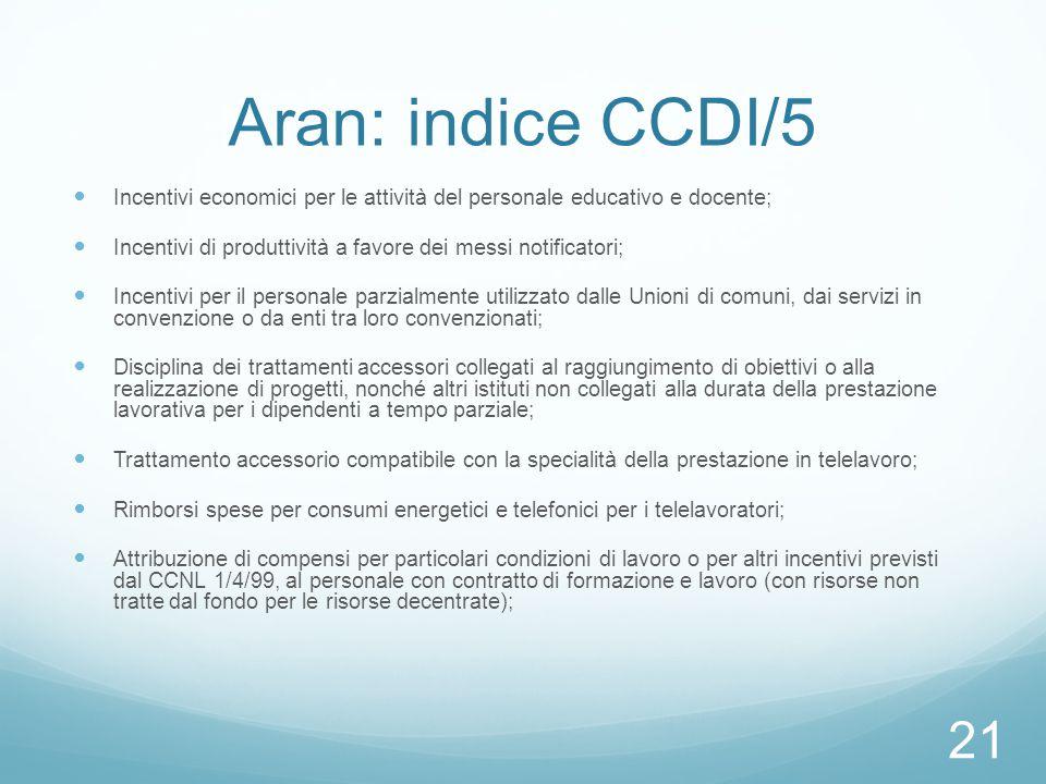 Aran: indice CCDI/5 Incentivi economici per le attività del personale educativo e docente; Incentivi di produttività a favore dei messi notificatori;