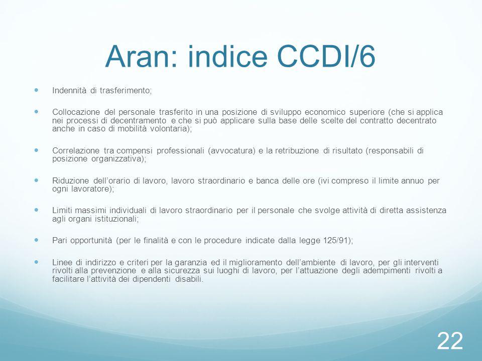 Aran: indice CCDI/6 Indennità di trasferimento; Collocazione del personale trasferito in una posizione di sviluppo economico superiore (che si applica