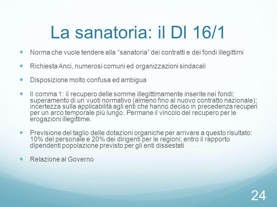 """La sanatoria: il Dl 16/1 Norma che vuole tendere alla """"sanatoria"""" dei contratti e dei fondi illegittimi Richiesta Anci, numerosi comuni ed organizzazi"""