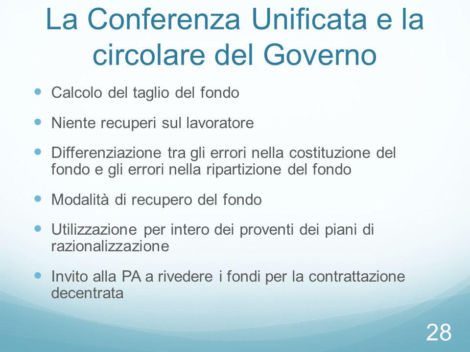 La Conferenza Unificata e la circolare del Governo Calcolo del taglio del fondo Niente recuperi sul lavoratore Differenziazione tra gli errori nella c