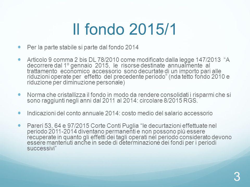 """Il fondo 2015/1 Per la parte stabile si parte dal fondo 2014 Articolo 9 comma 2 bis DL 78/2010 come modificato dalla legge 147/2013 """"A decorrere dal 1"""