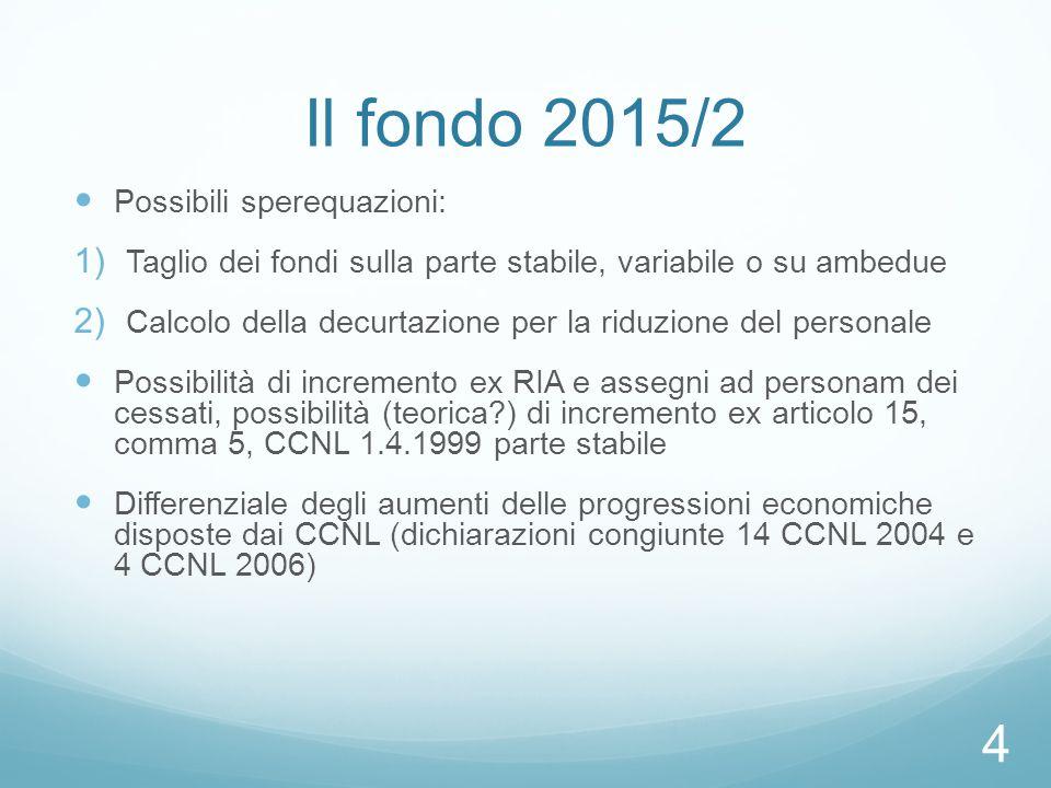Il fondo 2015/2 Possibili sperequazioni:  Taglio dei fondi sulla parte stabile, variabile o su ambedue  Calcolo della decurtazione per la riduzione del personale Possibilità di incremento ex RIA e assegni ad personam dei cessati, possibilità (teorica?) di incremento ex articolo 15, comma 5, CCNL 1.4.1999 parte stabile Differenziale degli aumenti delle progressioni economiche disposte dai CCNL (dichiarazioni congiunte 14 CCNL 2004 e 4 CCNL 2006) 4