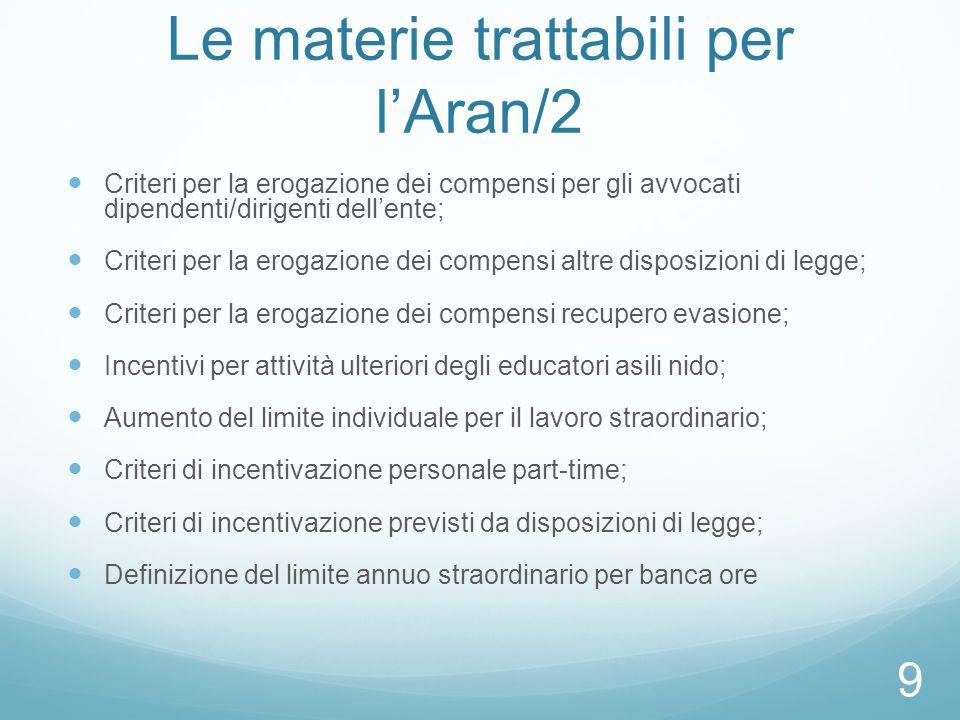 Le materie trattabili per l'Aran/2 Criteri per la erogazione dei compensi per gli avvocati dipendenti/dirigenti dell'ente; Criteri per la erogazione d