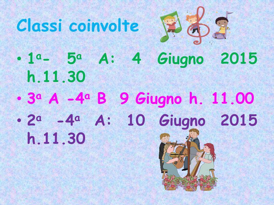 Classi coinvolte 1 a - 5 a A: 4 Giugno 2015 h.11.30 3 a A -4 a B 9 Giugno h. 11.00 2 a -4 a A: 10 Giugno 2015 h.11.30