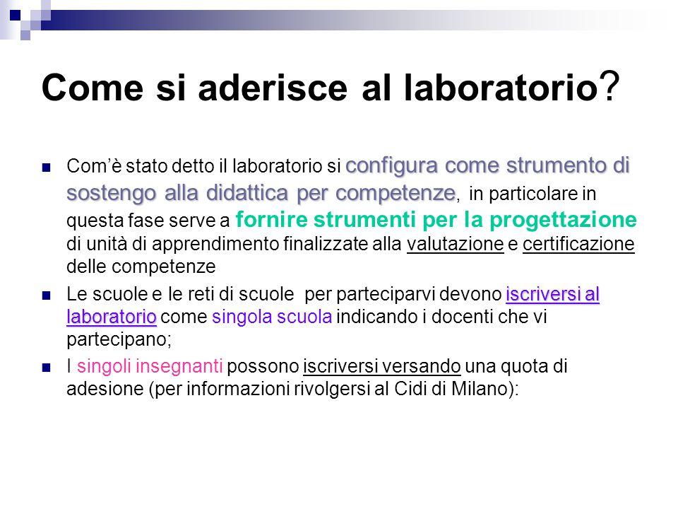 Come si aderisce al laboratorio ? configura come strumento di sostengo alla didattica per competenze Com'è stato detto il laboratorio si configura com