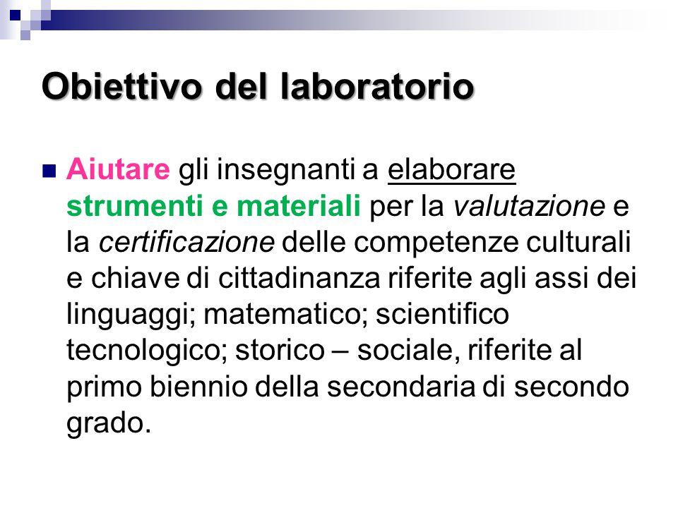 Obiettivo del laboratorio Aiutare gli insegnanti a elaborare strumenti e materiali per la valutazione e la certificazione delle competenze culturali e