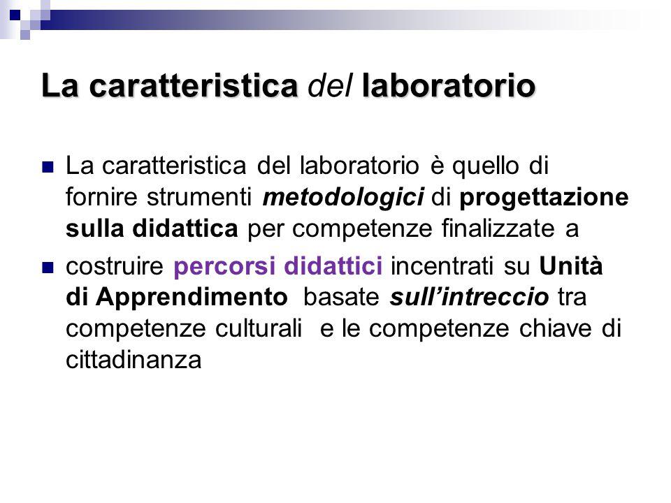 La caratteristicalaboratorio La caratteristica del laboratorio La caratteristica del laboratorio è quello di fornire strumenti metodologici di progett