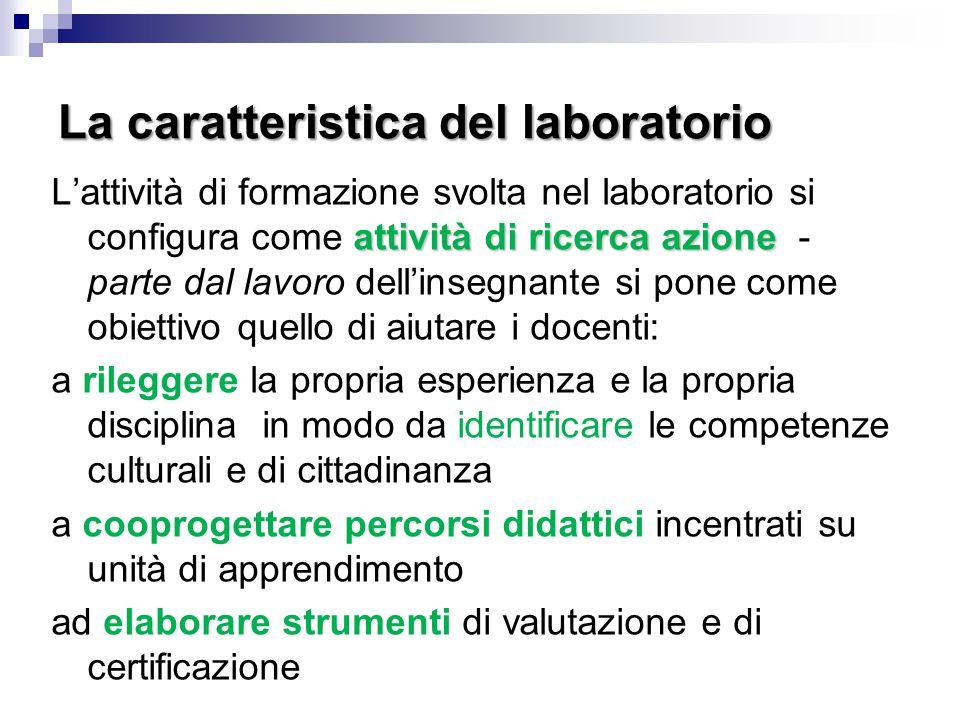La caratteristica del laboratorio attività di ricerca azione L'attività di formazione svolta nel laboratorio si configura come attività di ricerca azi