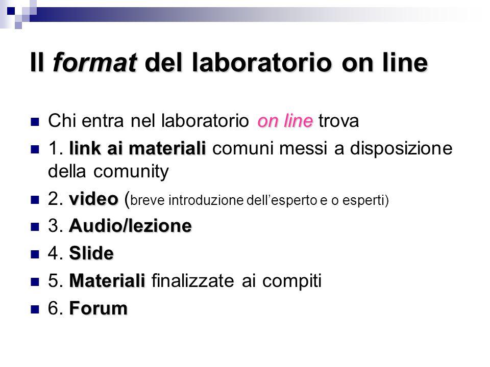 Il format del laboratorio on line on line Chi entra nel laboratorio on line trova link ai materiali 1. link ai materiali comuni messi a disposizione d