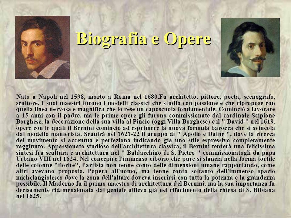 Biografia e Opere Nato a Napoli nel 1598, morto a Roma nel 1680.Fu architetto, pittore, poeta, scenografo, scultore.