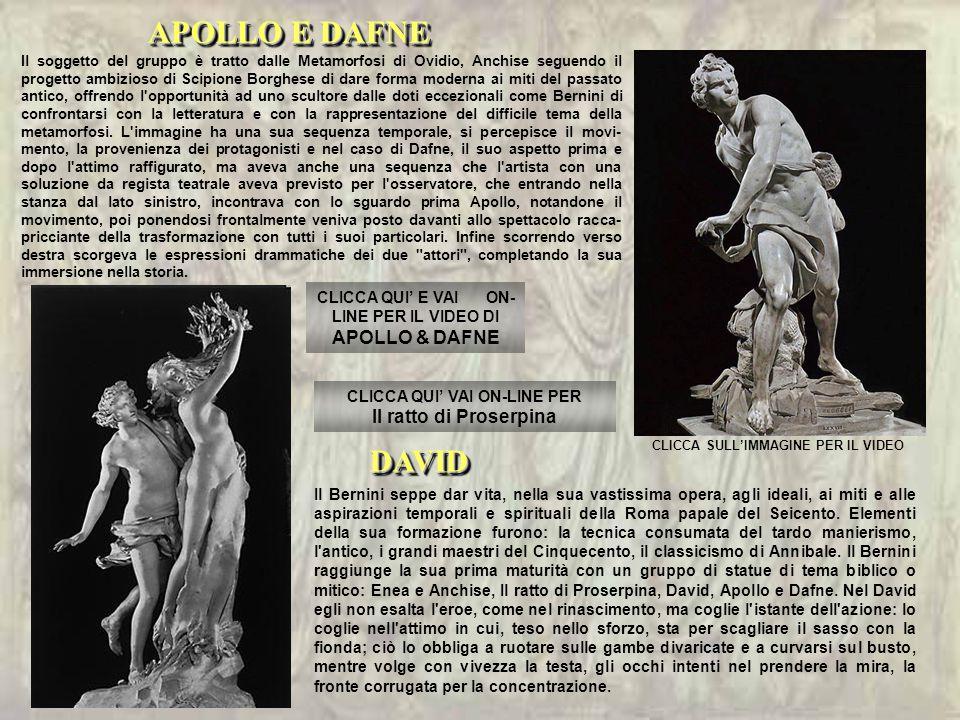 Il soggetto del gruppo è tratto dalle Metamorfosi di Ovidio, Anchise seguendo il progetto ambizioso di Scipione Borghese di dare forma moderna ai miti del passato antico, offrendo l opportunità ad uno scultore dalle doti eccezionali come Bernini di confrontarsi con la letteratura e con la rappresentazione del difficile tema della metamorfosi.