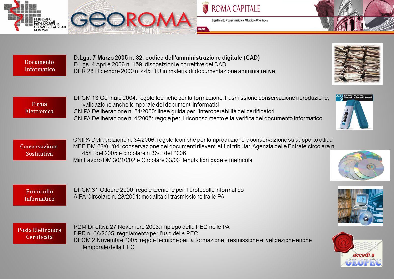 Documento Informatico Firma Elettronica Conservazione Sostitutiva Protocollo Informatico Posta Elettronica Certificata D.Lgs. 7 Marzo 2005 n. 82: codi
