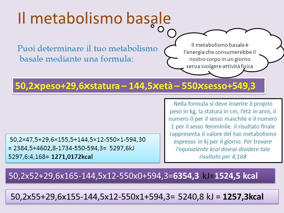 Il metabolismo basale 50,2×47,5+29,6×155,5+144,5×12-550×1-594,30 = 2384,5+4602,8-1734-550-594,3= 5297,6kJ 5297,6:4,168= 1271,0172kcal 50,2×47,5+29,6×1