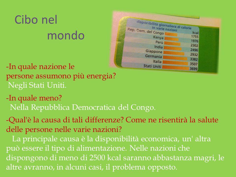 Cibo nel mondo -In quale nazione le persone assumono più energia? Negli Stati Uniti. -In quale meno? Nella Repubblica Democratica del Congo. -Qual'è l