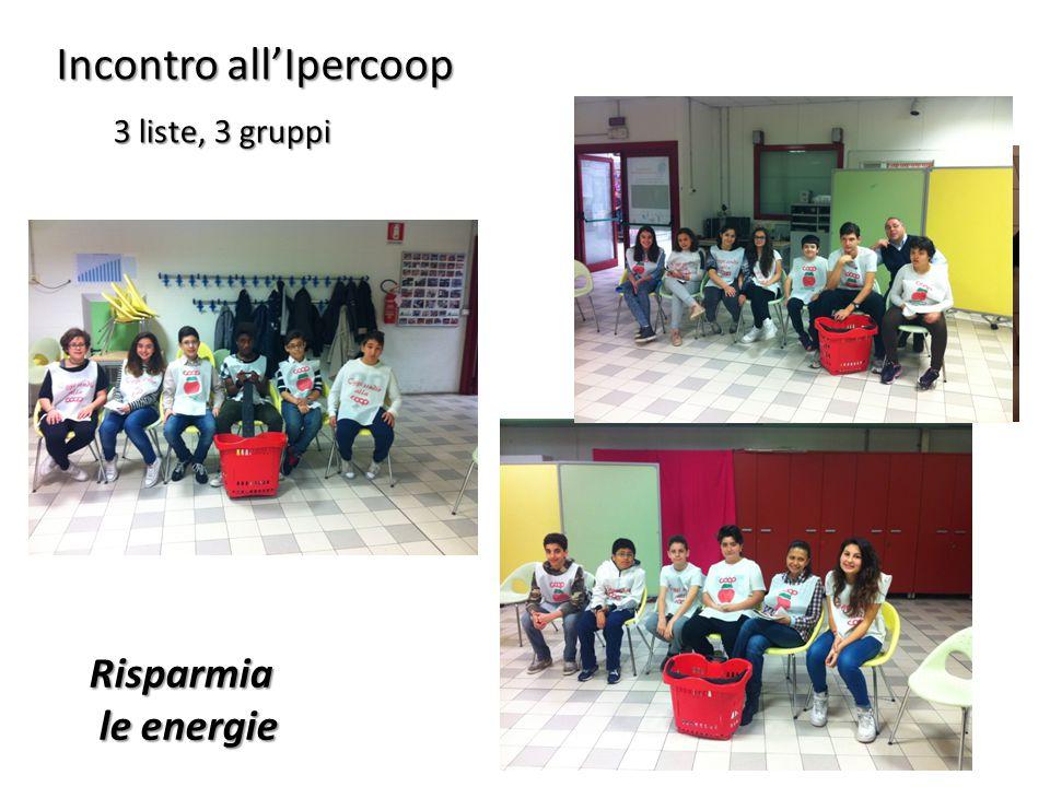 Incontro all'Ipercoop 3 liste, 3 gruppi 3 liste, 3 gruppi Risparmia le energie le energie