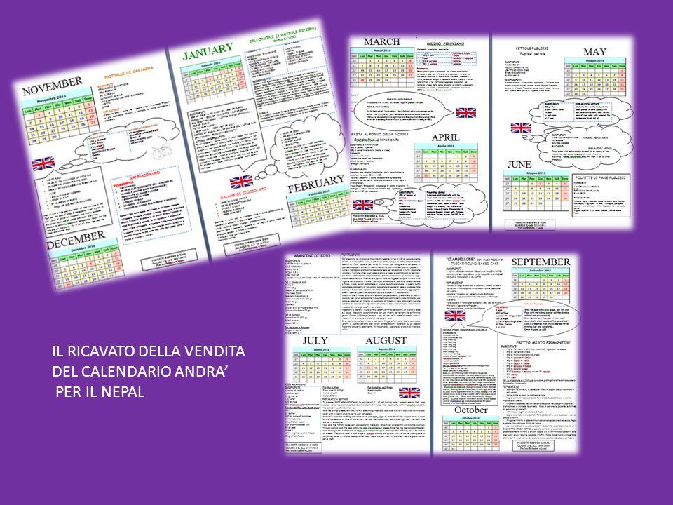IL RICAVATO DELLA VENDITA DEL CALENDARIO ANDRA' PER IL NEPAL