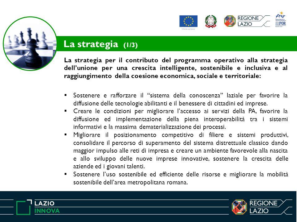 La strategia per il contributo del programma operativo alla strategia dell'unione per una crescita intelligente, sostenibile e inclusiva e al raggiungimento della coesione economica, sociale e territoriale:  Sostenere e rafforzare il sistema della conoscenza laziale per favorire la diffusione delle tecnologie abilitanti e il benessere di cittadini ed imprese.