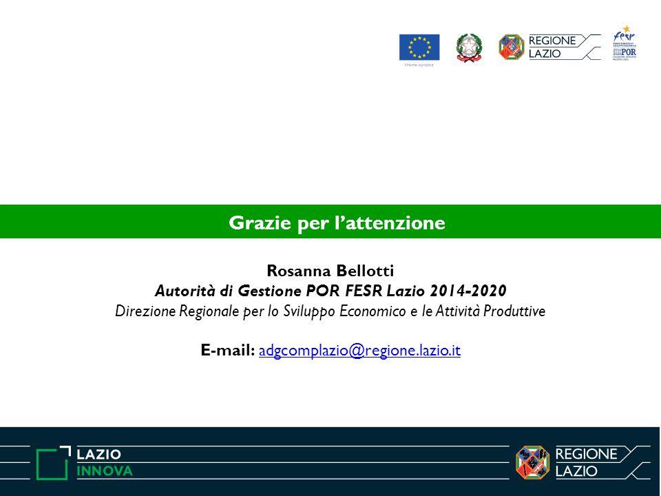 Rosanna Bellotti Autorità di Gestione POR FESR Lazio 2014-2020 Direzione Regionale per lo Sviluppo Economico e le Attività Produttive E-mail: adgcompl