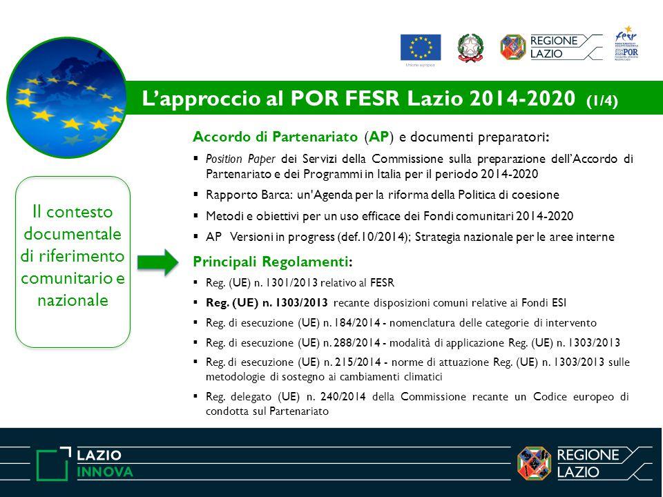 Il contesto documentale di riferimento comunitario e nazionale Accordo di Partenariato (AP) e documenti preparatori:  Position Paper dei Servizi della Commissione sulla preparazione dell'Accordo di Partenariato e dei Programmi in Italia per il periodo 2014-2020  Rapporto Barca: un Agenda per la riforma della Politica di coesione  Metodi e obiettivi per un uso efficace dei Fondi comunitari 2014-2020  AP Versioni in progress (def.10/2014); Strategia nazionale per le aree interne Principali Regolamenti:  Reg.