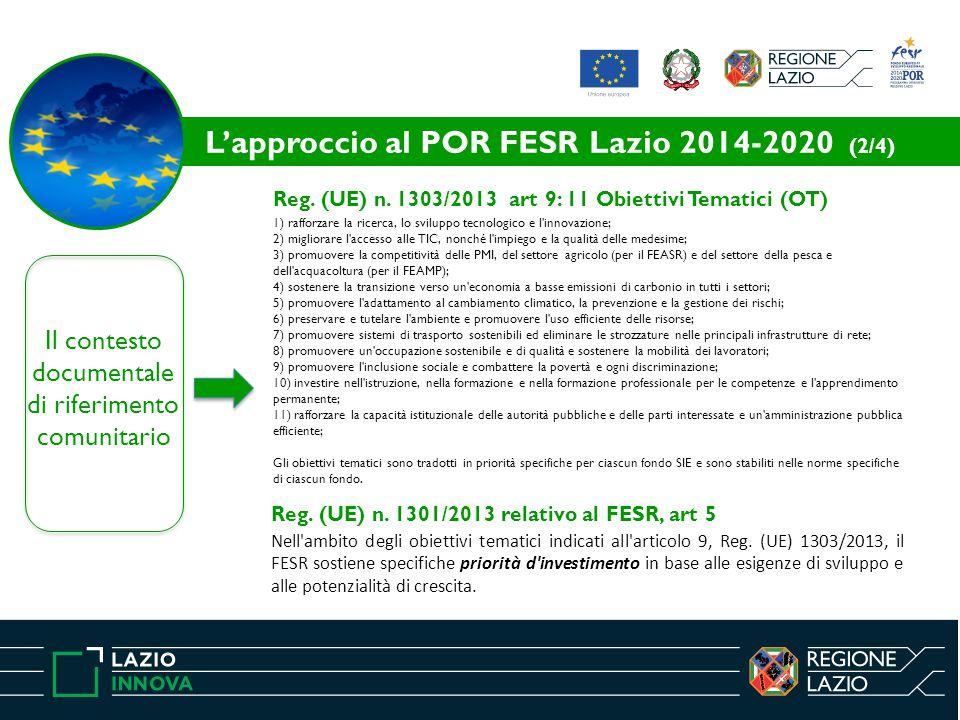 Il contesto documentale di riferimento comunitario Reg. (UE) n. 1303/2013 art 9: 11 Obiettivi Tematici (OT) 1) rafforzare la ricerca, lo sviluppo tecn
