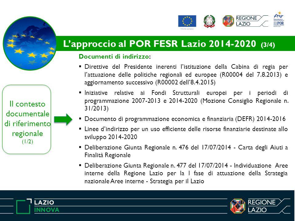 Il contesto documentale di riferimento regionale (1/2) Documenti di indirizzo:  Direttive del Presidente inerenti l'istituzione della Cabina di regia per l'attuazione delle politiche regionali ed europee (R00004 del 7.8.2013) e aggiornamento successivo (R00002 dell'8.4.2015)  Iniziative relative ai Fondi Strutturali europei per i periodi di programmazione 2007-2013 e 2014-2020 (Mozione Consiglio Regionale n.