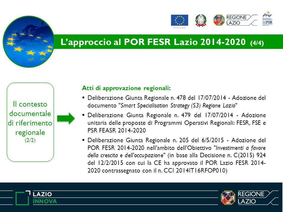 Il contesto documentale di riferimento regionale (2/2) Atti di approvazione regionali:  Deliberazione Giunta Regionale n. 478 del 17/07/2014 - Adozio