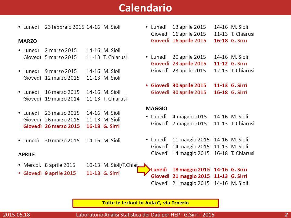 Calendario Laboratorio Analisi Statistica dei Dati per HEP - G.Sirri - 20152 Lunedì 23 febbraio 201514-16M. Sioli MARZO Lunedì 2 marzo 201514-16M. Sio