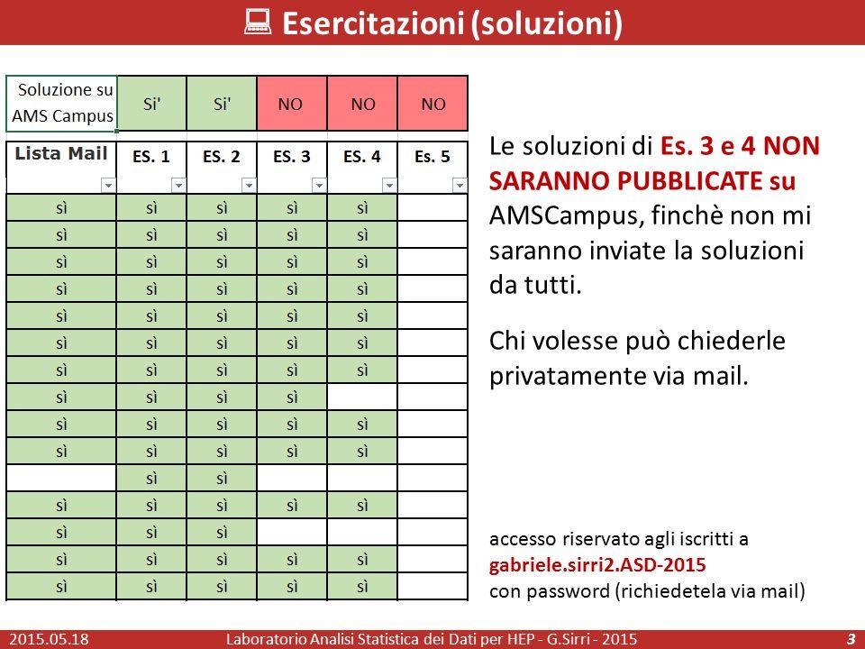 Laboratorio Analisi Statistica dei Dati per HEP - G.Sirri - 20153  Esercitazioni (soluzioni) Le soluzioni di Es. 3 e 4 NON SARANNO PUBBLICATE su AMSC