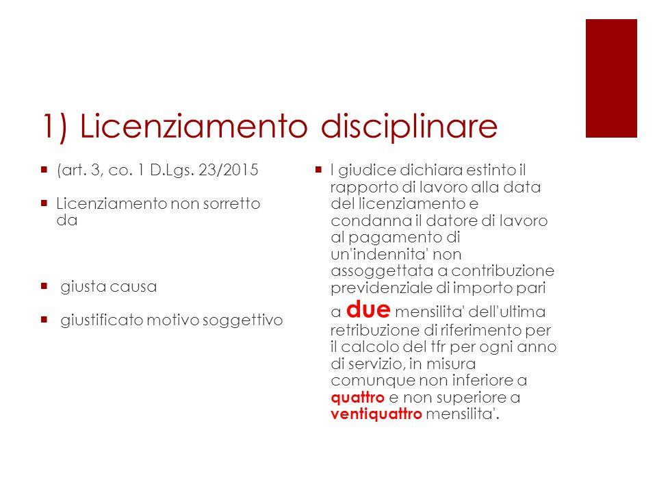 1) Licenziamento disciplinare  (art. 3, co. 1 D.Lgs. 23/2015  Licenziamento non sorretto da  giusta causa  giustificato motivo soggettivo  l giud