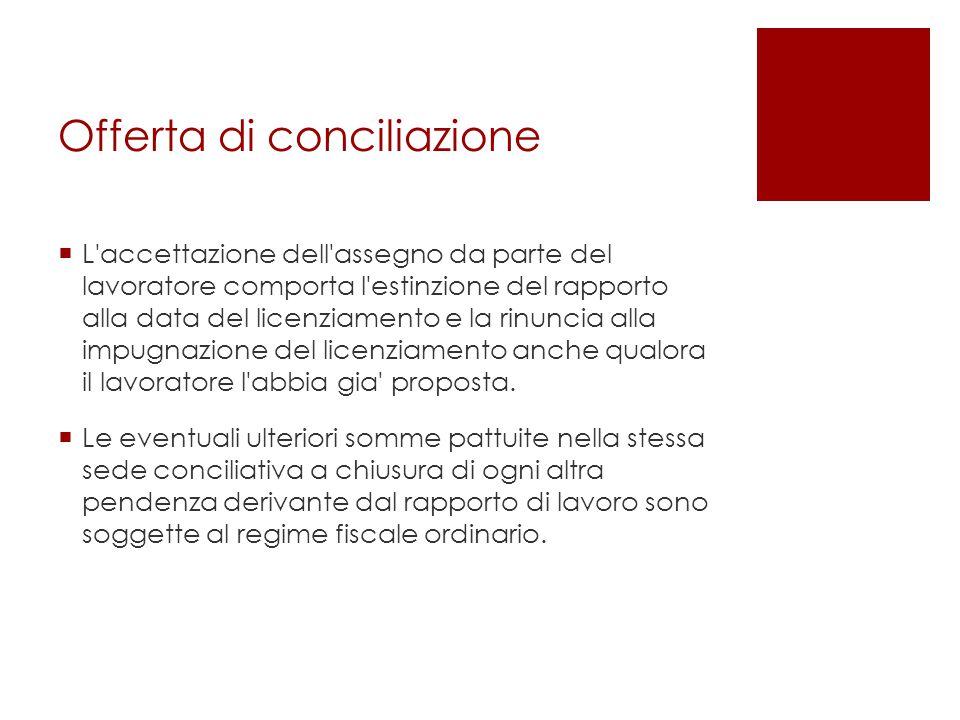 Offerta di conciliazione  L'accettazione dell'assegno da parte del lavoratore comporta l'estinzione del rapporto alla data del licenziamento e la rin