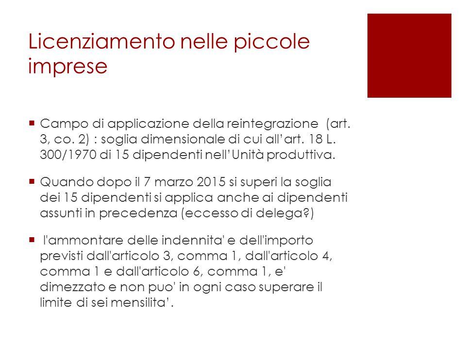 Licenziamento nelle piccole imprese  Campo di applicazione della reintegrazione (art.