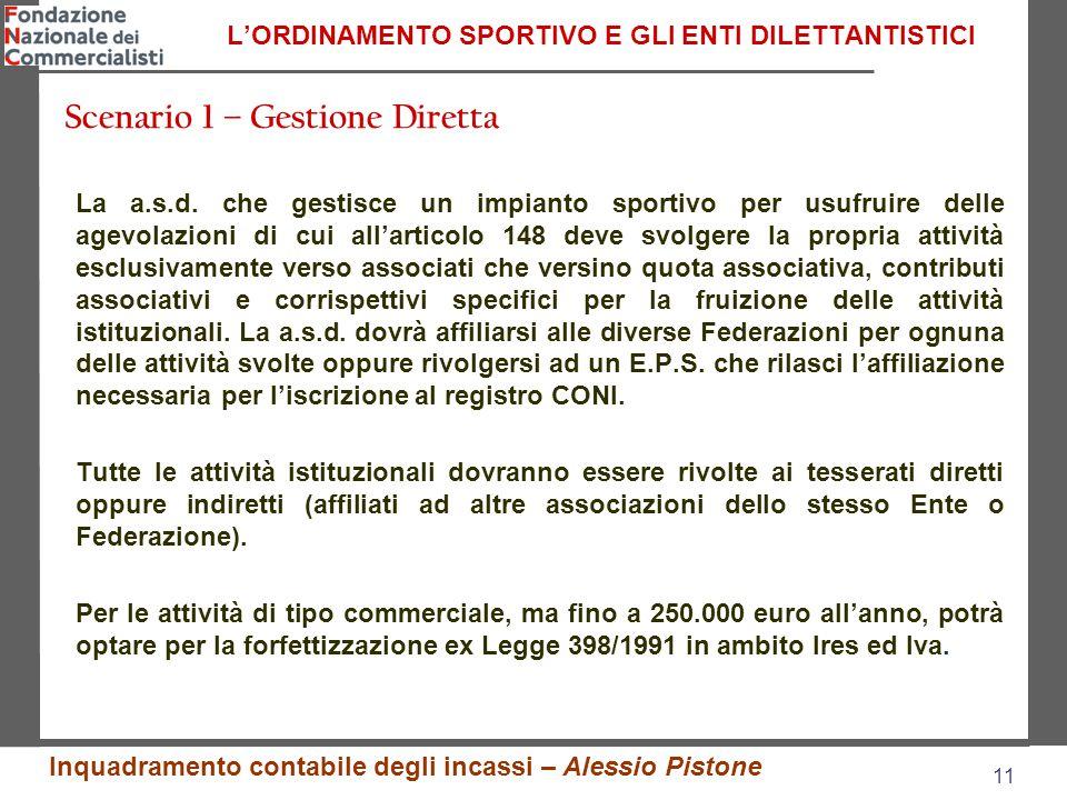11 L'ORDINAMENTO SPORTIVO E GLI ENTI DILETTANTISTICI La a.s.d.