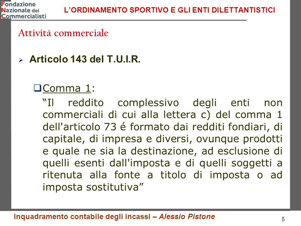 5 5 L'ORDINAMENTO SPORTIVO E GLI ENTI DILETTANTISTICI  Articolo 143 del T.U.I.R.