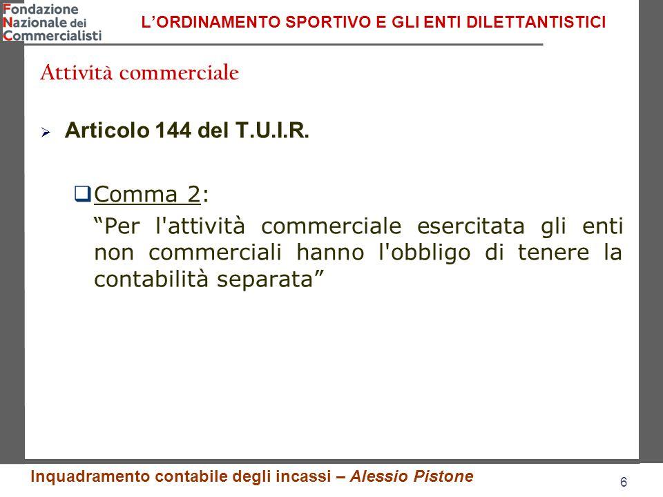 6 6 L'ORDINAMENTO SPORTIVO E GLI ENTI DILETTANTISTICI  Articolo 144 del T.U.I.R.