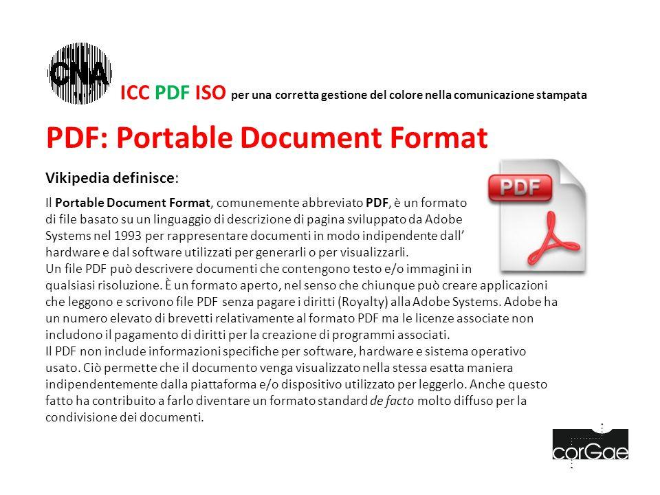 PDF: Portable Document Format Vikipedia definisce: Il Portable Document Format, comunemente abbreviato PDF, è un formato di file basato su un linguaggio di descrizione di pagina sviluppato da Adobe Systems nel 1993 per rappresentare documenti in modo indipendente dall' hardware e dal software utilizzati per generarli o per visualizzarli.