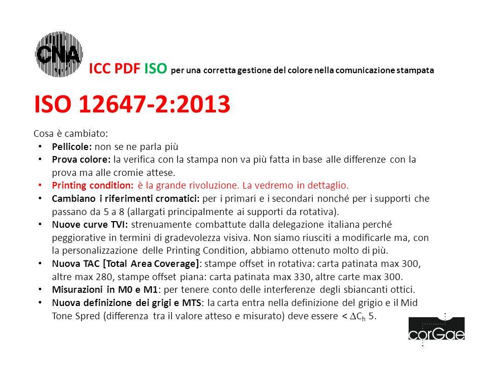 ISO 12647-2:2013 Cosa è cambiato: Pellicole: non se ne parla più Prova colore: la verifica con la stampa non va più fatta in base alle differenze con la prova ma alle cromie attese.
