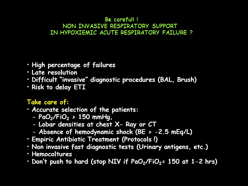 "Be carefull ! NON INVASIVE RESPIRATORY SUPPORT IN HYPOXIEMIC ACUTE RESPIRATORY FAILURE ? High percentage of failures Late resolution Difficult ""invasi"
