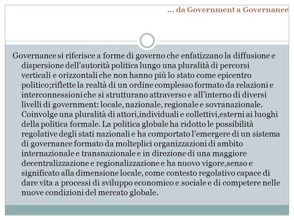 Governance si riferisce a forme di governo che enfatizzano la diffusione e dispersione dell'autorità politica lungo una pluralità di percorsi vertical