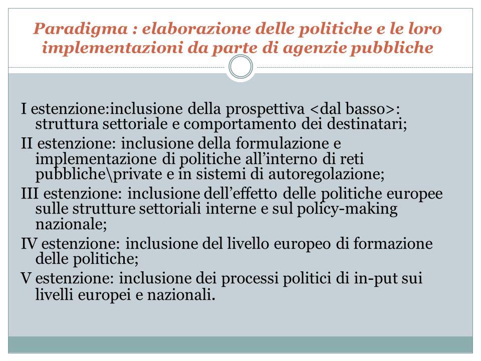 Paradigma : elaborazione delle politiche e le loro implementazioni da parte di agenzie pubbliche I estenzione:inclusione della prospettiva : struttura