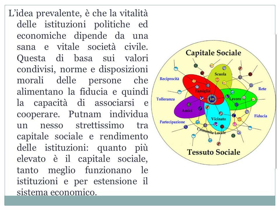 L'idea prevalente, è che la vitalità delle istituzioni politiche ed economiche dipende da una sana e vitale società civile. Questa di basa sui valori