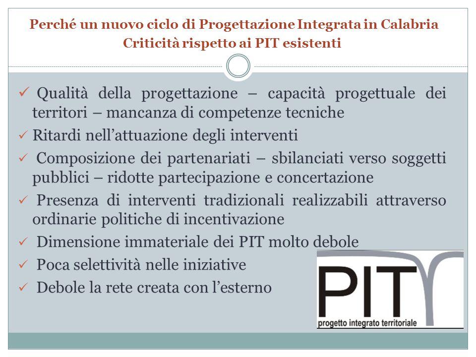 Perché un nuovo ciclo di Progettazione Integrata in Calabria Criticità rispetto ai PIT esistenti Qualità della progettazione – capacità progettuale de