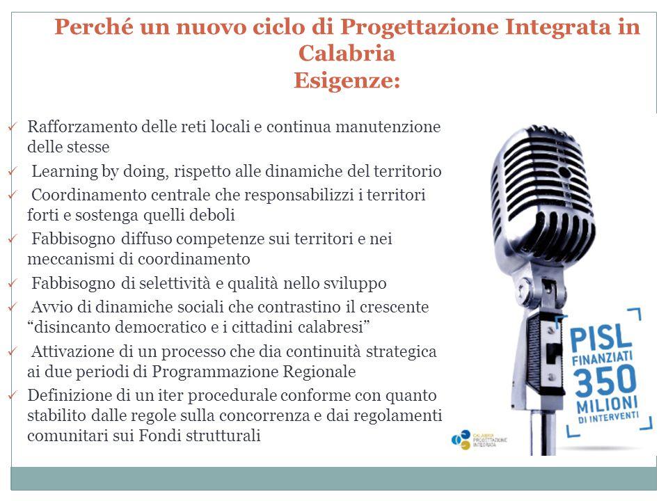 Perché un nuovo ciclo di Progettazione Integrata in Calabria Esigenze: Rafforzamento delle reti locali e continua manutenzione delle stesse Learning b