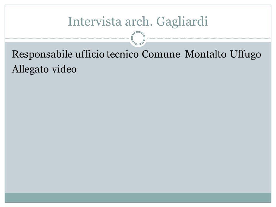 Intervista arch. Gagliardi Responsabile ufficio tecnico Comune Montalto Uffugo Allegato video