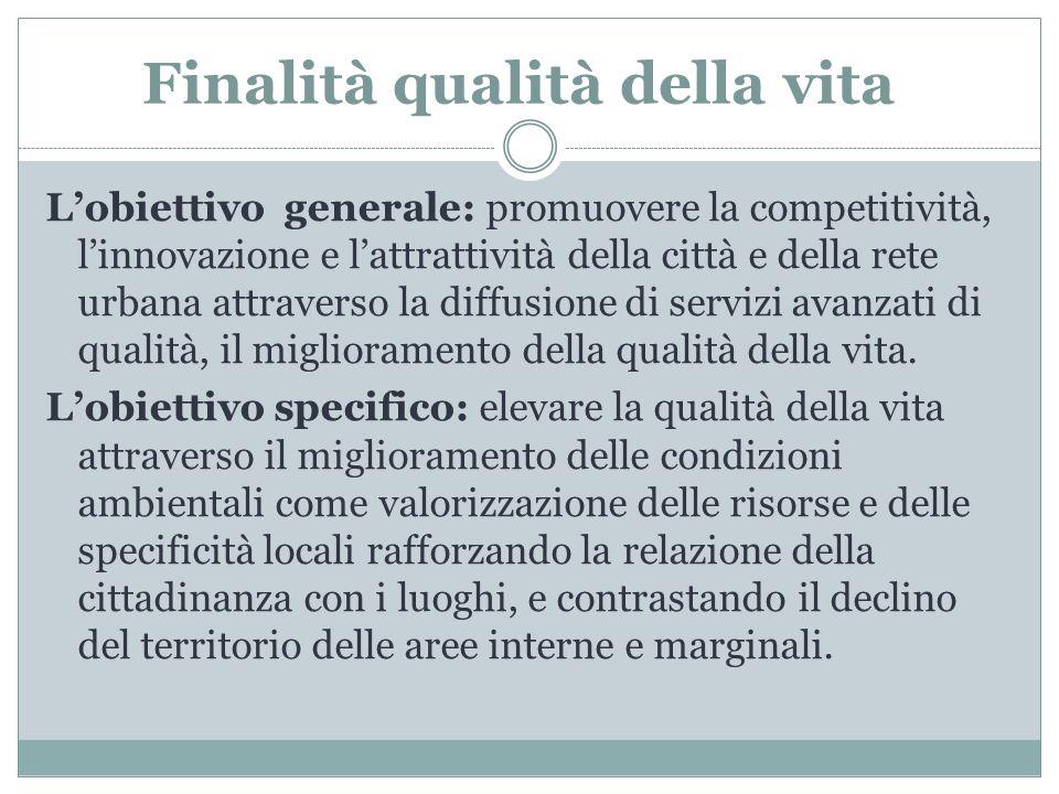 Finalità qualità della vita L'obiettivo generale: promuovere la competitività, l'innovazione e l'attrattività della città e della rete urbana attraver