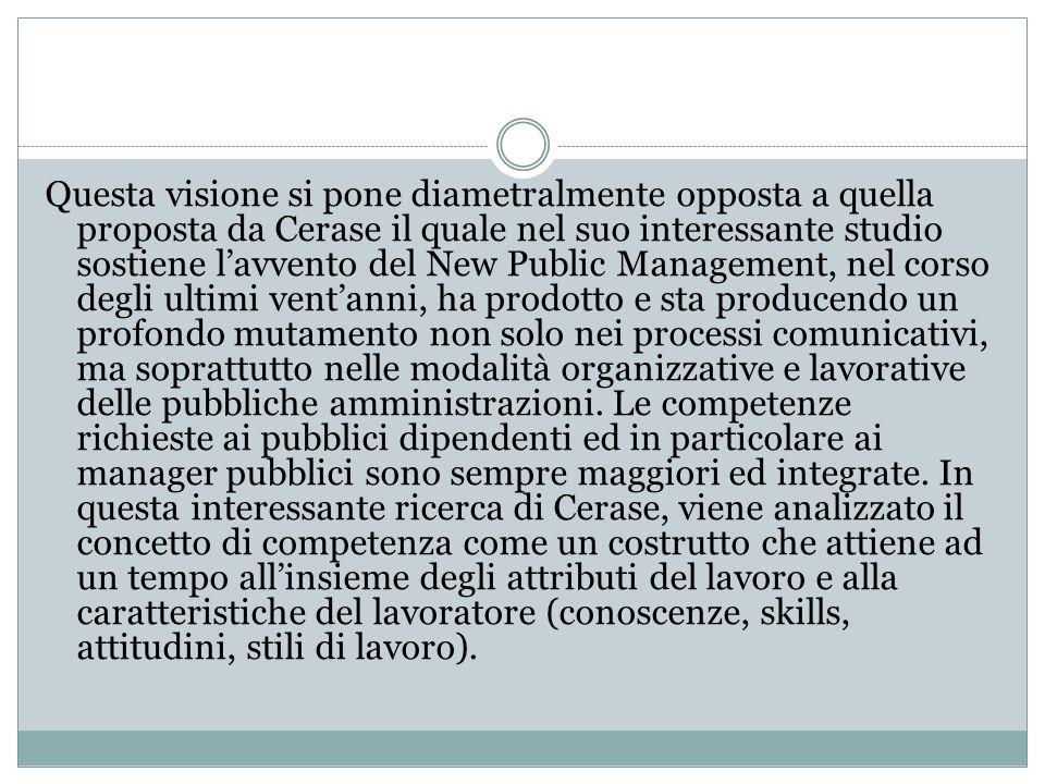Questa visione si pone diametralmente opposta a quella proposta da Cerase il quale nel suo interessante studio sostiene l'avvento del New Public Manag