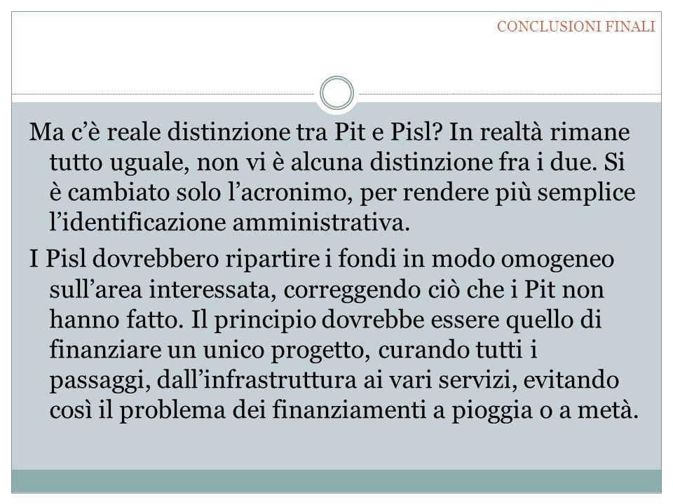 Ma c'è reale distinzione tra Pit e Pisl? In realtà rimane tutto uguale, non vi è alcuna distinzione fra i due. Si è cambiato solo l'acronimo, per rend